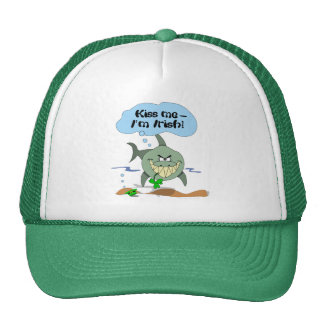Kiss Me I'm Irish Funny Cartoon Shark Truckers Hat