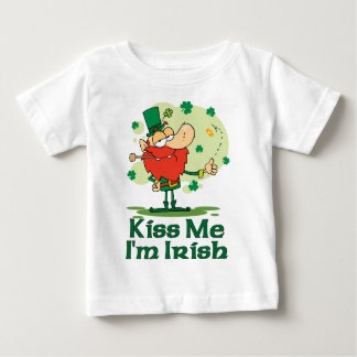 Kiss Me I'm Irish Funny Leprechaun Baby T-Shirt