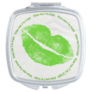 Kiss Me I'm Irish Green Lipstick Makeup Mirrors