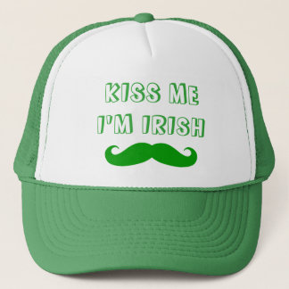 Kiss me I'm Irish green mustache St Patricks Day Trucker Hat