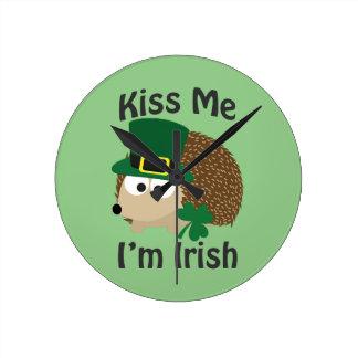 Kiss Me I'm Irish Hedgehog Clocks