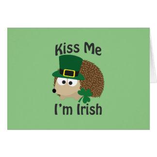 Kiss Me I'm Irish Hedgehog Note Card