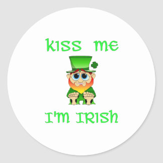 Kiss Me Im Irish ~ Lil Blarney Classic Round Sticker