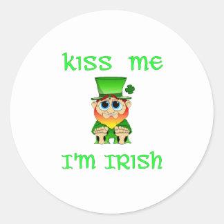 Kiss Me Im Irish ~ Lil Blarney Round Sticker
