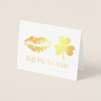 Kiss Me I'm Irish Lips Shamrock St. Patrick's Day Foil Card