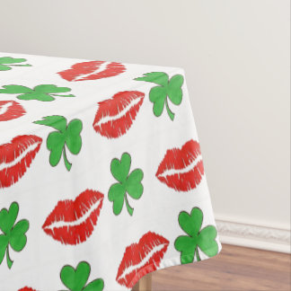 Kiss Me I'm Irish Lips Shamrock St. Patrick's Day Tablecloth