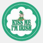 Kiss Me I'm Irish Little Leprechaun Round Sticker
