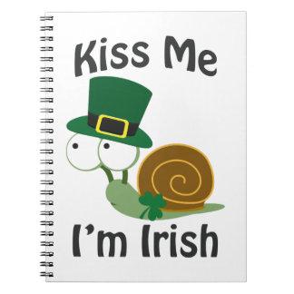 Kiss Me I'm Irish Snail Note Books