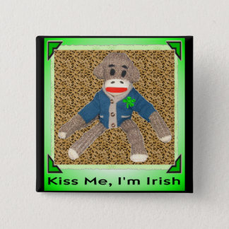 Kiss Me, I'm Irish Sock Monkey 2 Inch Square Button