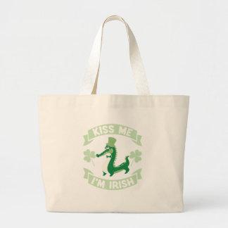 Kiss Me I'm Irish St Patrick's Day Large Tote Bag