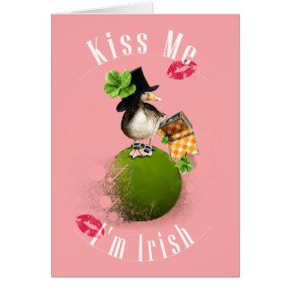 Kiss Me I'm Irish with Ducky Leprechaun Card