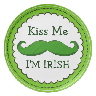 Kiss Me I'M IRISH with Green Funny Mustache Plates