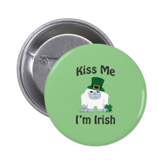 Kiss Me I'm Irish Yeti 2 Inch Round Button