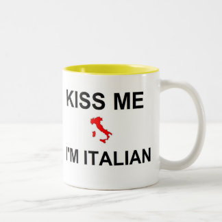 Kiss Me I'm Italian Two-Tone Coffee Mug