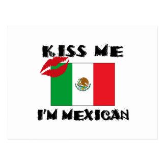 kiss me i'm mexican postcard