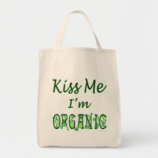 Kiss Me I'm Organic Green Saying Tote Bag