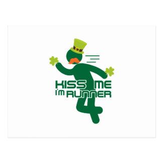 Kiss Me I'm Runner St Patrick's Day Postcard