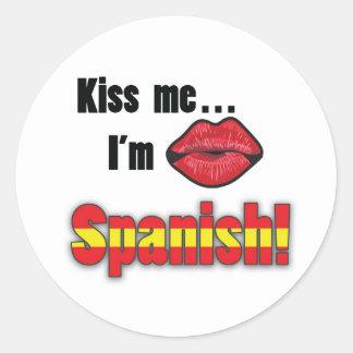 Kiss Me I'm Spanish Round Sticker