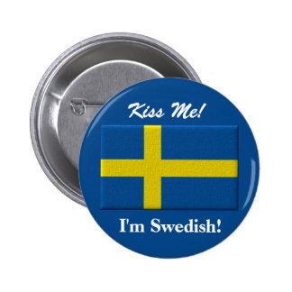 Kiss Me I'm Swedish 2 Inch Round Button