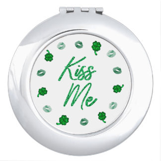 Kiss Me | Irish Green Shamrock Lips St Patricks Travel Mirror