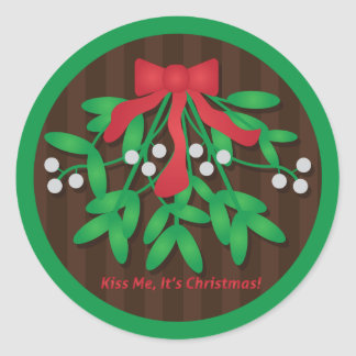 Kiss Me, It's Christmas! Classic Round Sticker