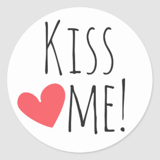Kiss Me Love Quote Red Heart Wedding Bridal Shower Classic Round Sticker