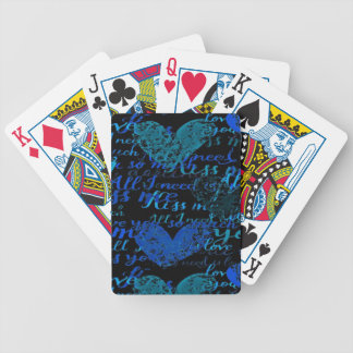 Kiss Me Miss Me Blue Bicycle Playing Cards