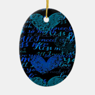 Kiss Me Miss Me Blue Ceramic Ornament