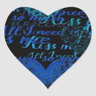 Kiss Me Miss Me Blue Heart Sticker