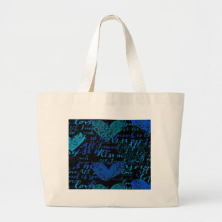 Kiss Me Miss Me Blue Large Tote Bag