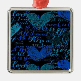 Kiss Me Miss Me Blue Metal Ornament