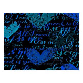 Kiss Me Miss Me Blue Postcard