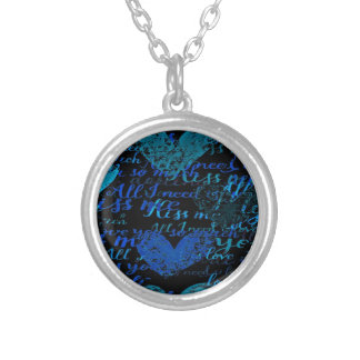 Kiss Me Miss Me Blue Silver Plated Necklace