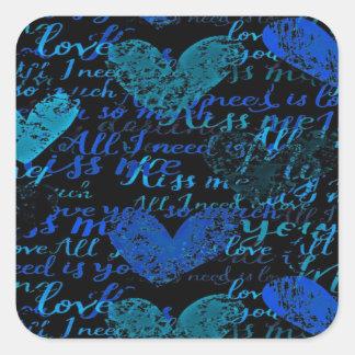 Kiss Me Miss Me Blue Square Sticker