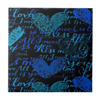 Kiss Me Miss Me Blue Tile