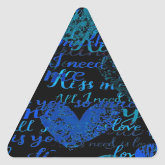 Kiss Me Miss Me Blue Triangle Sticker