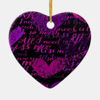 Kiss Me Miss Me Purple Ceramic Ornament