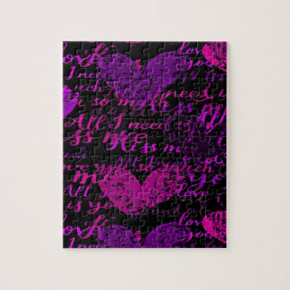 Kiss Me Miss Me Purple Jigsaw Puzzle