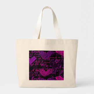 Kiss Me Miss Me Purple Large Tote Bag