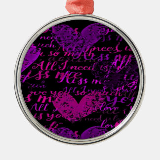 Kiss Me Miss Me Purple Metal Ornament