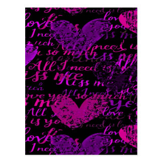 Kiss Me Miss Me Purple Postcard