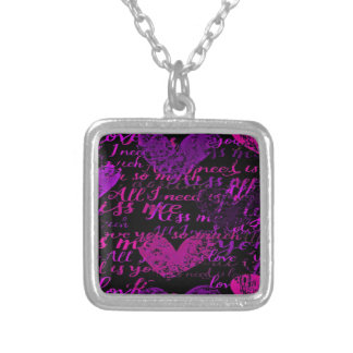 Kiss Me Miss Me Purple Silver Plated Necklace