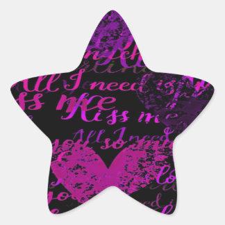 Kiss Me Miss Me Purple Star Sticker