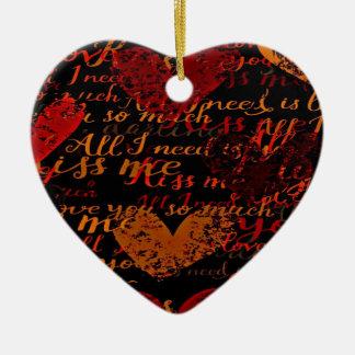 Kiss Me Miss Me Red Ceramic Ornament