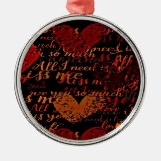 Kiss Me Miss Me Red Metal Ornament