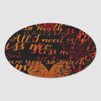 Kiss Me Miss Me Red Oval Sticker