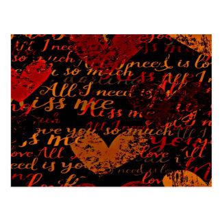 Kiss Me Miss Me Red Postcard