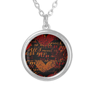 Kiss Me Miss Me Red Silver Plated Necklace
