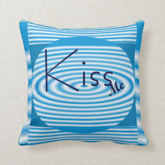 KISS ME Modern Pillow-Home Decor- Blue/White Throw Pillow