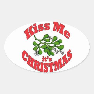 kiss me oval sticker